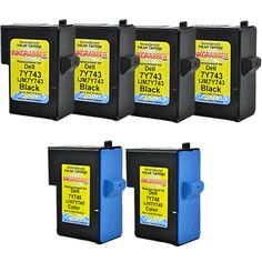 InkGrabber.com SIX PACK - Remanufactured Dell Inkjet Cartridges (4 Black, 2 Color) Replaces Dell 7Y743, 7Y745, X0502, X0504 (Dell Inkjet A940, Dell Inkjet A960)