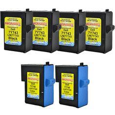 InkGrabber.com SIX PACK - Remanufactured Dell Inkjet Cartridges (4 Black, 2 Color) Replaces Dell 7Y743, 7Y745, X0502, X0504 (Dell Inkjet A940, Dell Inkjet A960)