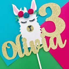 Llama Cake Topper <br> This gorgeous llama cake topper will be the perfect addition to your party! 3rd Birthday Parties, 2nd Birthday, Birthday Ideas, Birthday Activities, Gold Glitter Paper, Cricut Cake, 1st Birthday Cake Topper, Diy Cake Topper, Llama Birthday