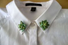 Handmade Collar Pins  Succulent  Set of 2 by TheCuriousCactus
