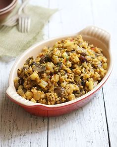 Wild Rice & Mushroom Stuffing. An easy and delicious gluten-free alternative to traditional stuffing!