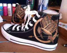 Hunger Games Custom Painted Converse Shoes on Etsy, $140.00