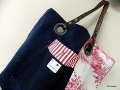 Sac cabas bleu marine en lin et toile de Jouy rouge