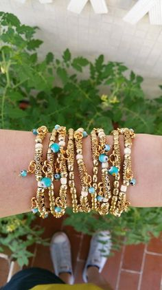 Check out this item in my Etsy shop https://www.etsy.com/pt/listing/469124573/stretch-bracelet-boho-chic-gold-bead