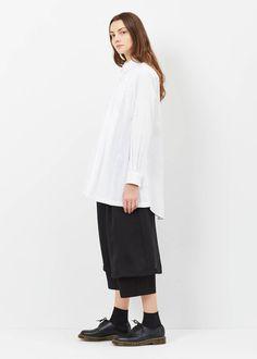 Comme des Garcons Pleat Long Button-up Shirt (White)