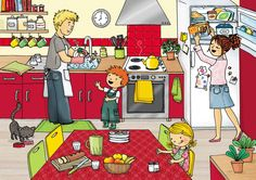 In the kitchen - oral exercise English Activities, Speech Therapy Activities, Language Activities, Preschool Activities, Spanish Classroom, Teaching Spanish, Teaching English, Picture Writing Prompts, Writing Pictures