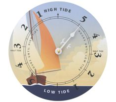 """Nautical Clock £28.00  Tide clock - easy to use and at a glance you can see what the tide is doing. Indispensable for those ruled by the waves - sailors, surfers, bathers and beachcombers! Once set the clock hand rotates twice each lunar day staying in exact step with the moon. Requires one AA Battery (not included) Size: 7½"""" diameter (19cm)."""