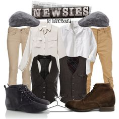 Ashley Frye I think we shoudl dress up like this...one because newsies are awesome...two so that people really wonder if we are twins