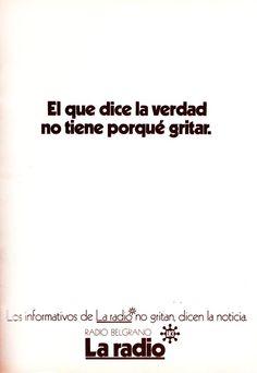 Publicidad de Radio BELGRANO, Buenos Aires, 1972.