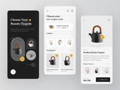 Teapoty - Mobile Apps Exploration ✨ by Azie Melasari for Odama on Dribbble App Design Inspiration, Mobile App Design, Small Handbags, Tea Pots, Apps, Ui Design, Product Design, Ecommerce, Tea Pot