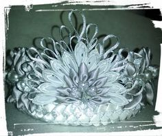 Regal hand made silver and white kanzashi tiara or crown. Accented with large pearl beads. Will fit a child or an adult. Can be special ordered in any color. Great as a picture prop, costume, accessory, wedding hair accessory. | Shop this product here: http://spreesy.com/girlsjustwannahavfunbowtique/81 | Shop all of our products at http://spreesy.com/girlsjustwannahavfunbowtique    | Pinterest selling powered by Spreesy.com
