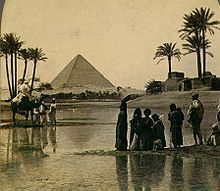 Great Pyramid of Giza from a 19th century stereopticon card photo (one of the 7 wonders of the ancient world)