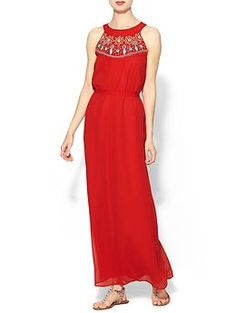 Love the vibrant red in this Sabine Estelle Embellished Maxi | Piperlime