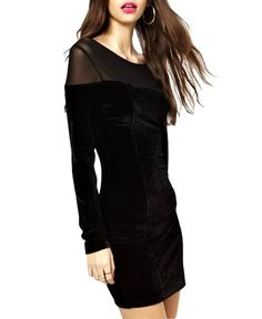 8e36452ca45d Body-con Long Sleeves Round Collar Dress Long Sleeve Mesh Dress