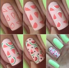 False nails have the advantage of offering a manicure worthy of the most advanced backstage and to hold longer than a simple nail polish. The problem is how to remove them without damaging your nails. Cute Nail Art, Cute Nails, Nail Art Diy, Simple Nail Art Designs, Nail Designs, Diy Nails, Glitter Nails, Watermelon Nails, Simple Nails