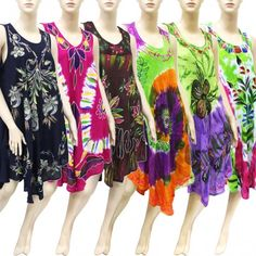 Embroidered Tie Dye Dress Best Seller Set A (6 Pcs)