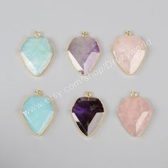 Wholesale Fashion Design Gold Plated Diamond Shape Natural Amethyst Rose Quartz Blue Amazonite Gemstone Faceted Charm G0928 by…