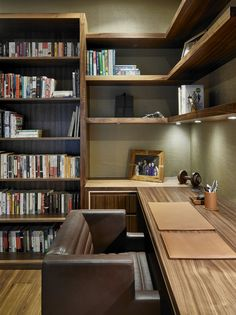 Bookcases and Media Furniture Dark wood vintage style study and home office with built-in desk, retro office chair design, bookcases and shelving. Home Office Setup, Home Office Chairs, Home Office Space, Home Office Furniture, Office Ideas, Desk Office, Office Style, Study Office, Small Office