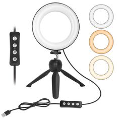 ZOMEI 6 inch Dimmable LED Ring Light with Stand for Live Stream Video Shooting Selfies, Mini Tabletop Ring Light with 3 Color Mode 11 Level Brightness Ring Light With Stand, Led Ring Light, Camera Selfie, System Camera, Usb, Fill Light, Light Works, Cell Phone Holder, Ipad