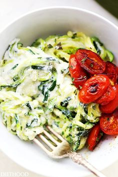 Creamy Ricotta Zucchini Noodles - Delicious zucchini noodles tossed in a creamy and garlicky ricotta cheese sauce. Easy, guilt free and vegetarian weeknight meal that takes minutes to prepare!