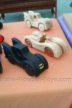 Racing Car, Batmobile: Some of the toys for sale at the Plaza shopping center in Narooma.  The designs featured made from some of the free plans…