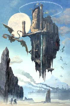 Flying Castle by dragon / wyrm / wyvern attack on a floating citadel - turrets, moonlight and waterfalls RPG setting inspiration for DnD / Pathfinder fantasy setting inspiration Fantasy City, Fantasy Castle, Fantasy Places, High Fantasy, Fantasy World, Fantasy Concept Art, Fantasy Artwork, Fantasy Landscape, Landscape Art
