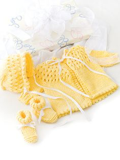 Knitting - Patterns for Children & Babies - Gift Set Patterns - Buttercup Baby Set Baby Knitting Patterns, Knitting For Kids, Baby Patterns, Knitting Projects, Crochet Patterns, Free Knitting, Creative Knitting, Baby Layette, Knitted Baby Clothes