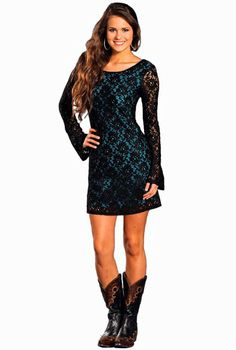 461d78b15910 Rock & Roll Cowgirl Lace over Turquoise. www.thefunkycowgirl.com Dresses  With