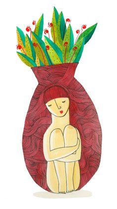 solitaria - acuarela sobre papel / Sofía Moreno Aliste