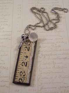 Glass Pendant Charm Necklace Vintage Sewing Notions Mixed Media  $21