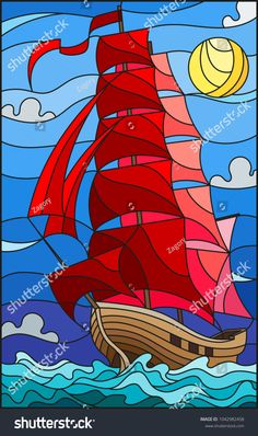 Illustration in stained glass style with an old ship sailing with red sails against the sea, sun and sky, seascape Stained Glass Designs, Stained Glass Projects, Stained Glass Patterns, Stained Glass Art, Stained Glass Windows, Glass Painting Patterns, Glass Painting Designs, Paint Designs, Mosaic Art