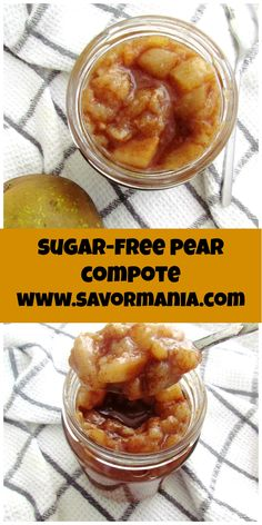 A super easy three-ingredient pear compote, to top oatmeal, pancakes, waffles, yoghurt.pretty much anything you like to have for breakfast! Sugar Free Fruits, Sugar Free Desserts, Sugar Free Recipes, Low Carb Recipes, Diabetic Recipes, Whole30 Recipes, Pear Compote, Fruit Compote, Pear Dessert