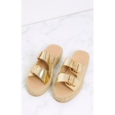 Madge Gold Metallic Espadrille Sandals (€17) ❤ liked on Polyvore featuring shoes, sandals, slip on sandals, slip-on shoes, pull on shoes, metallic gold sandals and espadrille sandals