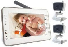 MoonyBaby inches Large LCD Video Baby Monitor Two Cameras Pack with Power Saving/Vox Mode, Automatic Night Vision & Temperature Monitoring, Two Way Talkback System (MANUALLY Rotated Camera) Baby Monitor, Lcd Monitor, Baby Crying Sound, Internet Setup, Baby Room Temperature, Router Setting, Multi Camera, Talking Back, Baby Safety