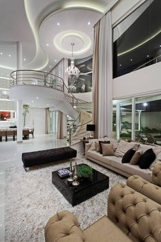 Find home projects from professionals for ideas inspiration. Casa Limeira by Arquiteto Aquiles Nícolas Kílaris Dream House Interior, Luxury Homes Dream Houses, Luxury Homes Interior, Dream Home Design, Luxury Apartments, Home Interior Design, House Design, Modern Mansion Interior, Luxury Modern Homes