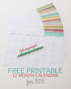 Cute Free Printable Calendar for 2015