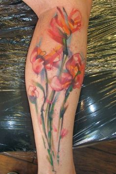 flower tattoos, leg tattoos for woman, different color tattoo designs