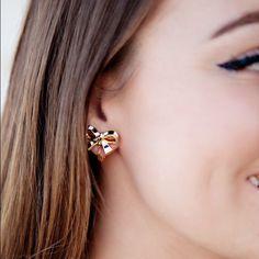 Kate Spade Striped Bow Clip On Earrings