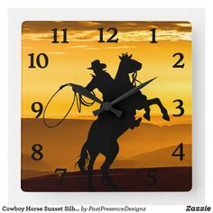 Cowboy Horse Sunset Silhouette Square Wall Clock Sunset Silhouette, Cowboy Horse, Wall Clocks, Hand Coloring, Your Favorite, Horses, Display, Artwork, Prints