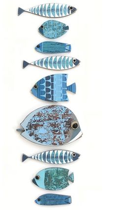 Sea Crafts, Fish Crafts, Driftwood Crafts, Wooden Crafts, Fish Wall Decor, Wooden Fish, Fish Design, Paperclay, Fish Art