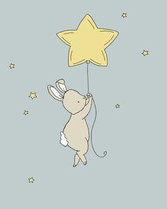 Bunny Nursery Art -- Bunny Star Balloon -- Bunny Art, Woodland Nursery -- Star Nursery Art Print, Children Art, Kids Wall Art by SweetMelodyDesigns on Etsy https://www.etsy.com/listing/223937602/bunny-nursery-art-bunny-star-balloon