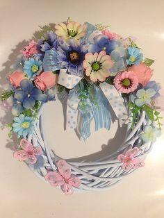 Jemný ružovo modry veniec motýle-32cm / anad333 - SAShE.sk - Handmade Dekorácie
