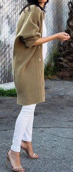 #winter #fashion /  Green Cardigan + White Jeans