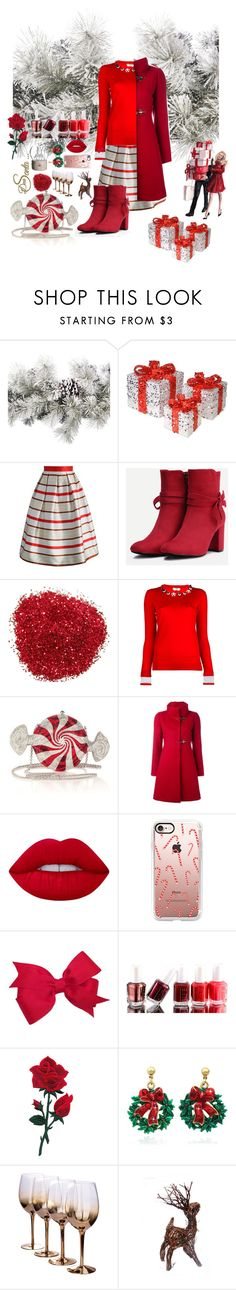 """""""Merry Christmas"""" by lilian-n1113 ❤ liked on Polyvore featuring Amara, National Tree Company, Chicwish, Fendi, Judith Leiber, FAY, Lime Crime, Casetify, Essie and Allstate Floral"""