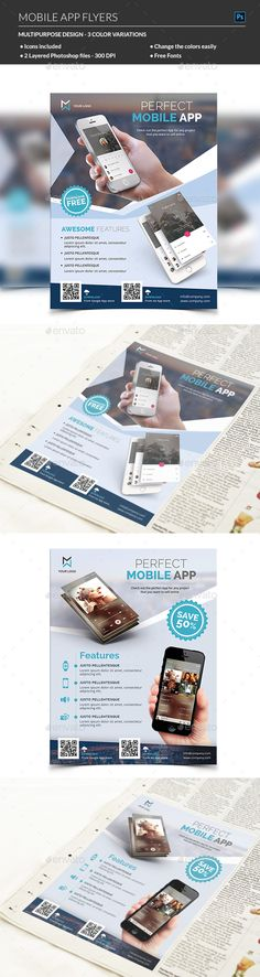 Mobile App Promotion Flyer | Flyer Template, Promotion And App