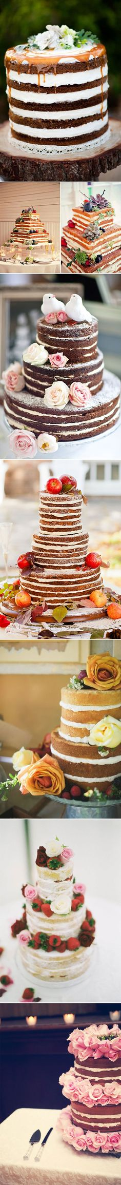 Naked Cakes. A new trending theme. This is beautiful!