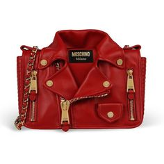 Moschino Biker Jacket Womens Medium Leather Shoulder Bag Red