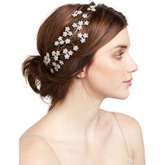 Jennifer Behr Camille Floral Web Circlet Headband ($1,125) ❤ liked on Polyvore featuring accessories, hair accessories, rose gold, jennifer behr headband, hair band headband, swarovski crystal hair accessories, floral headbands and head wrap headband