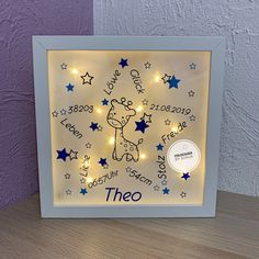 Light Chain, Paper Crafts, Diy Crafts, Box Frames, Shadow Box, Night Light, Baby Items, Giraffe, Picture Frames