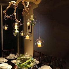 Set of 4 Plant Holders, Glass, Low Lights, Glass Texture, Lighted Branches, Ceiling Lights, Glass Terrarium, Glass Containers, Air Plant Holder
